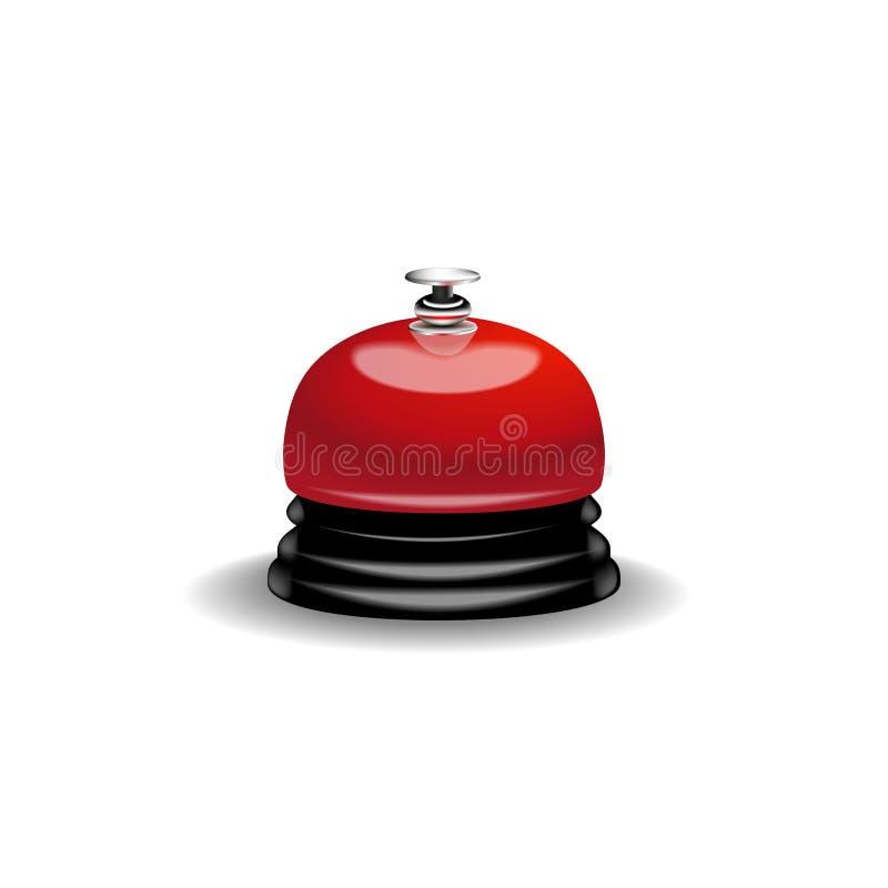 3d realista detalló la llamada metálica roja brillante de Bell de la recepción para la ayuda y la ayuda ilustración del vector