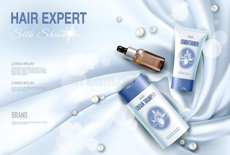 3D realista detalló la materia textil cosmética de la seda del paquete del cuidado del cabello Cartel promocional del anuncio de  libre illustration