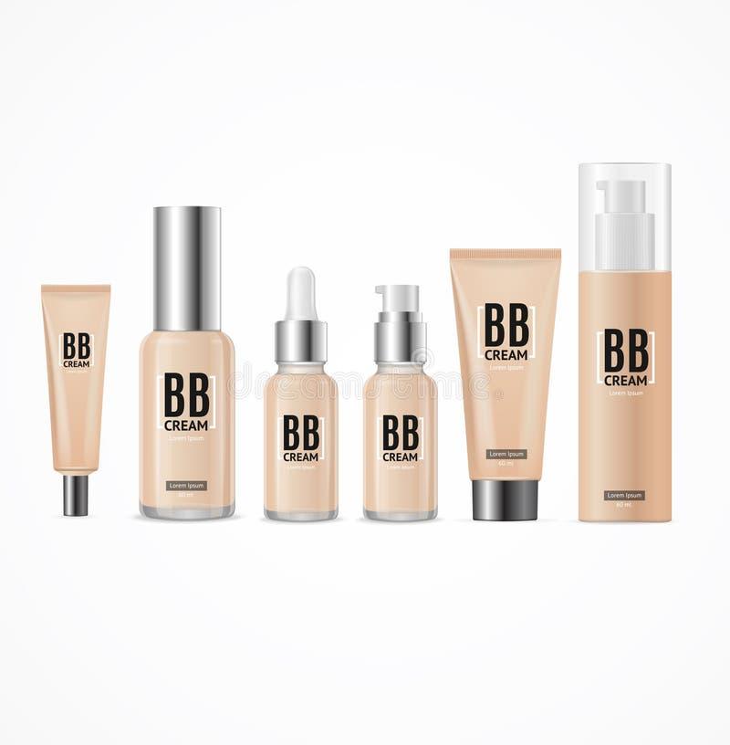 3d realistas vacian el sistema del paquete de la crema del Bb de la plantilla Vector stock de ilustración