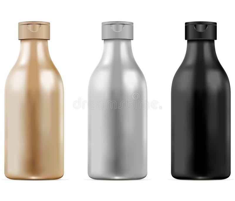 3d realistic bottle set for shampoo, gel. Cosmetic mockup set black and white. Vector illustration. stock illustration