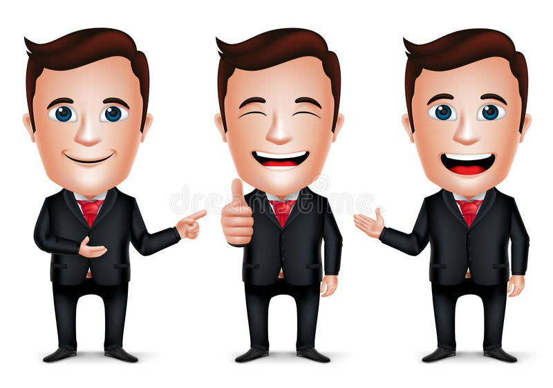 3D Realistic Businessman Cartoon Character with Different Pose stock illustration