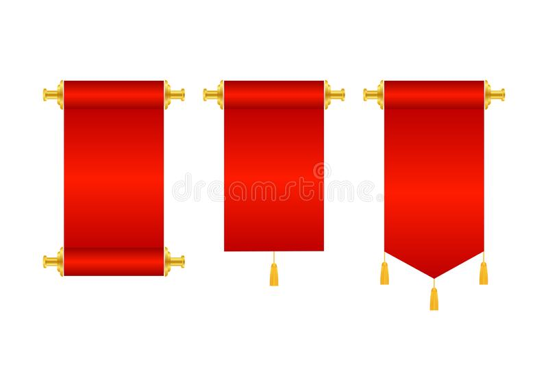 3d realistic chinese scrolls, Idea for Presentation Business Web Design Element. Vector stock illustration stock illustration