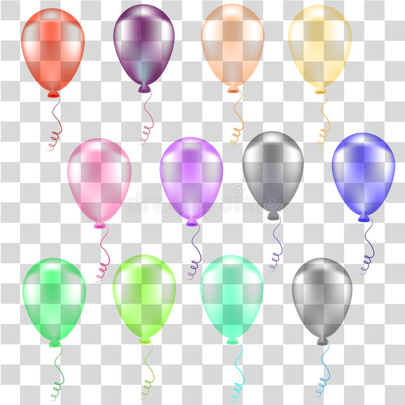 Collection of color balloons vector illustration