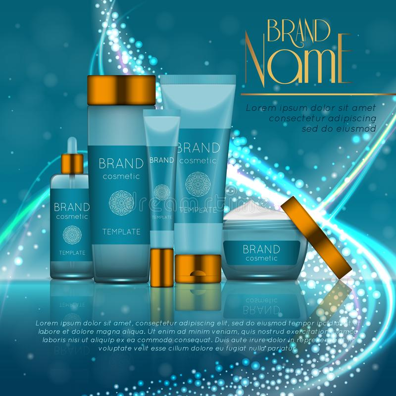 3D realistic cosmetic bottle ads template. Cosmetic brand advertising concept design with glitters and bokeh background.  stock illustration