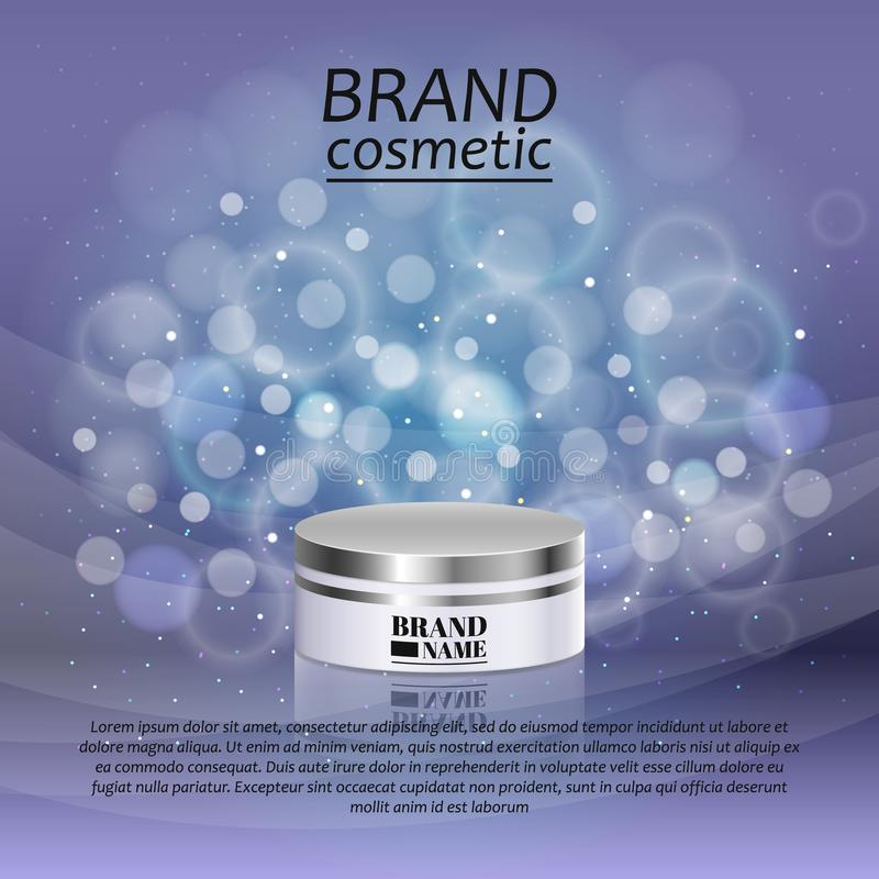 3D realistic cosmetic bottle ads template. Cosmetic brand advertising concept design with glitters and bokeh background.  vector illustration