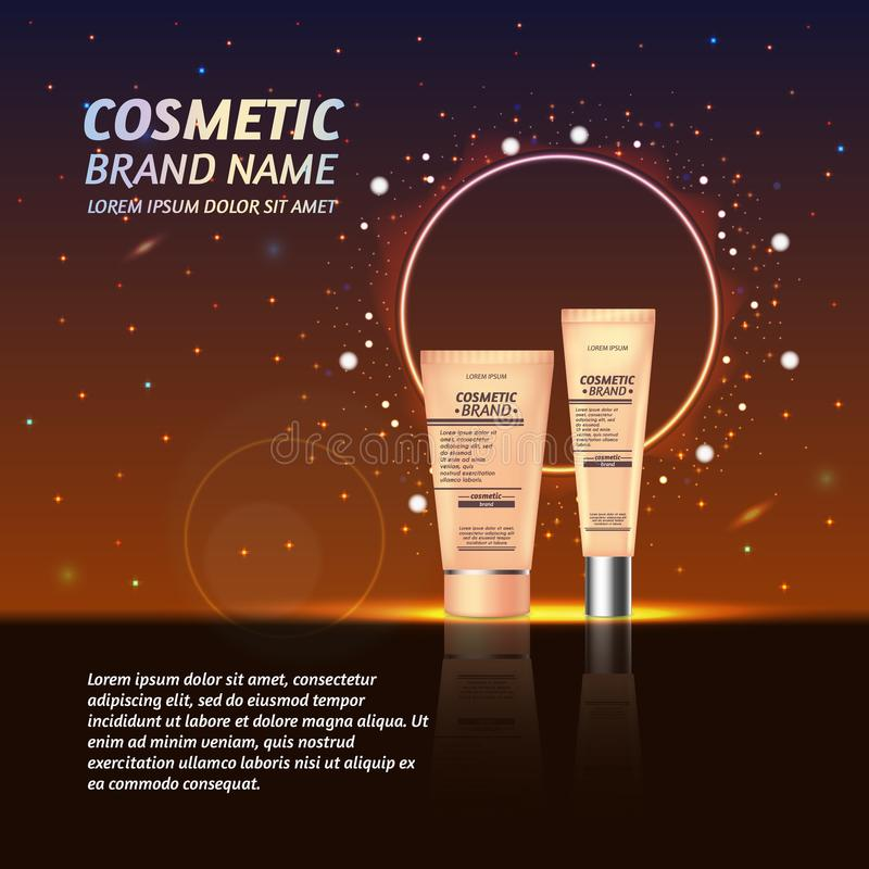 3D realistic cosmetic bottle ads template. Cosmetic brand advertising concept design with glitters and sparkles abstract sky backg. Round royalty free illustration