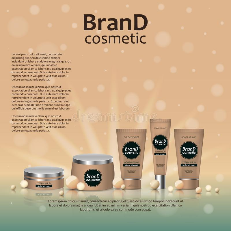 3D realistic cosmetic bottle ads template. Cosmetic brand advertising concept design on glowing background with pearls and sparkle. S stock illustration