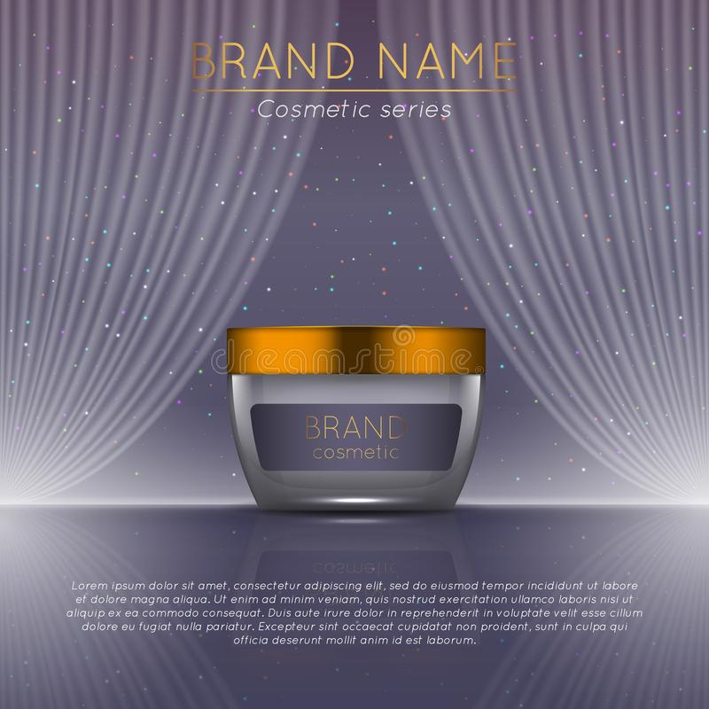3D realistic cosmetic bottle ads template. Cosmetic brand advertising concept design with wavy light abstract background.  royalty free illustration