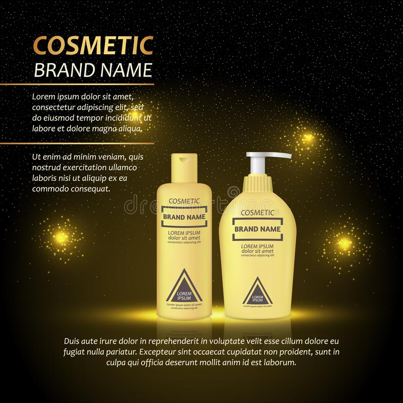 3D realistic cosmetic bottle ads template. Cosmetic brand advertising concept design with abstract glowing lights and sparkles bac. Kground royalty free illustration