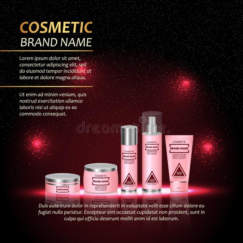 3D realistic cosmetic bottle ads template. Cosmetic brand advertising concept design with abstract glowing lights and sparkles bac. Kground vector illustration