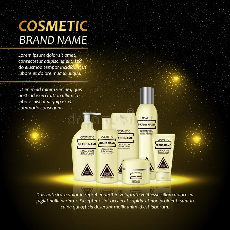 3D realistic cosmetic bottle ads template. Cosmetic brand advertising concept design with abstract glowing lights and sparkles bac. Kground stock illustration