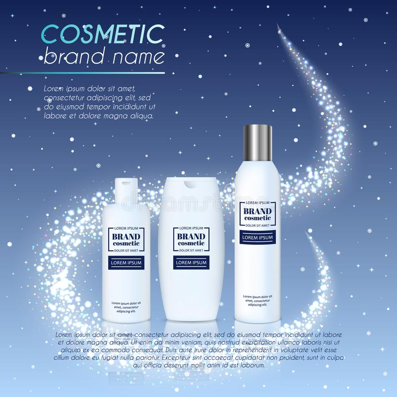 3D realistic cosmetic bottle ads template. Cosmetic brand advertising concept design with glittering dust background.  royalty free illustration