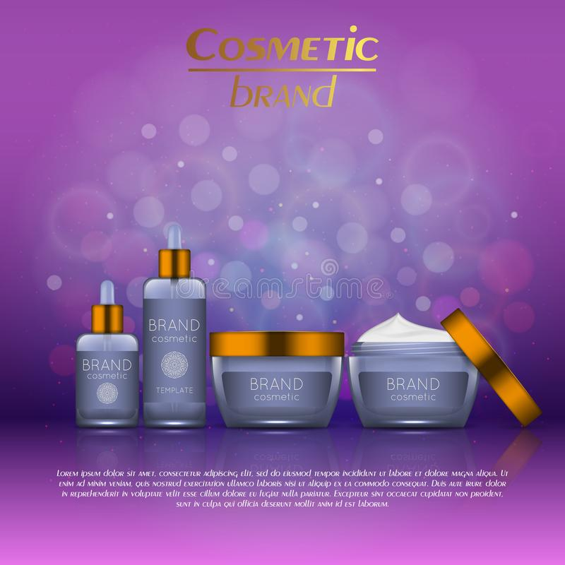 3D realistic cosmetic bottle ads template. Cosmetic brand advertising concept design with glitters and bokeh background.  royalty free illustration