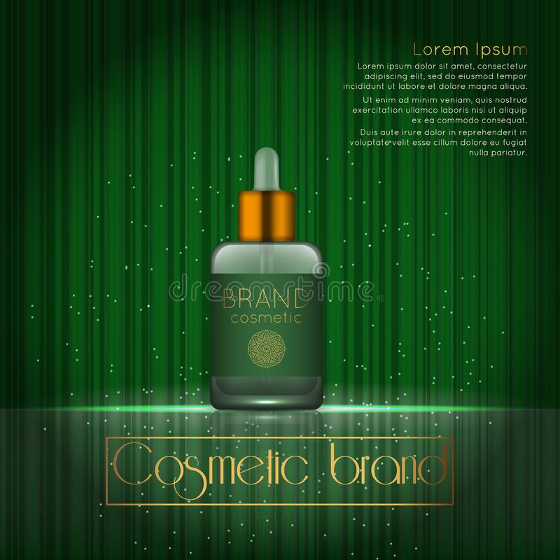 3D realistic cosmetic bottle ads template. Cosmetic brand advertising concept design with glowing sparkles on abstract texture bac. Kground vector illustration
