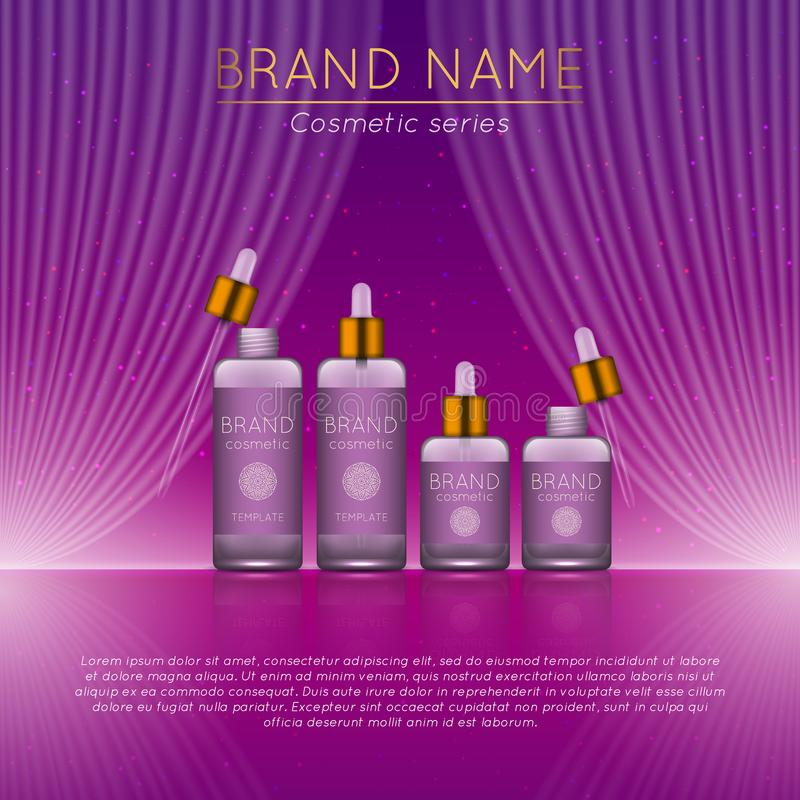 3D realistic cosmetic bottle ads template. Cosmetic brand advertising concept design with wavy light abstract background.  stock illustration
