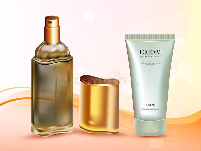 3D realistic cosmetic products on shiny abstract background for. Advertisement concept vector illustration