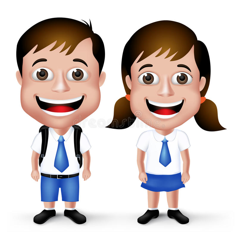 3D Realistic Cute School Boy and Girl Student Characters. In School Uniform with Backpack and Happy Smile in White Background. Vector Illustration royalty free illustration