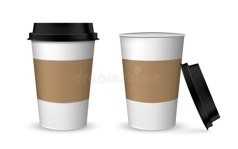 Cappuccino latte americano espresso cocoa in realistic cups. White paper cup isolated on white background vector illustration