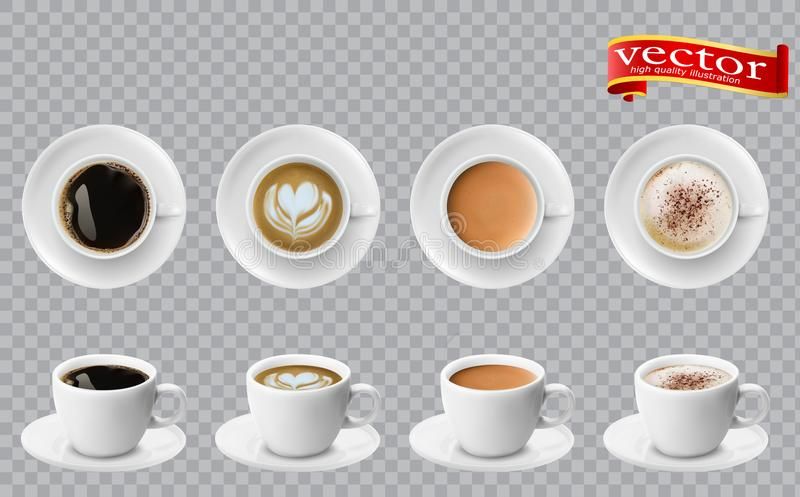 3d realistic different sorts of coffee in white cups view from the top and side. Cappuccino latte americano espresso cocoa vector illustration