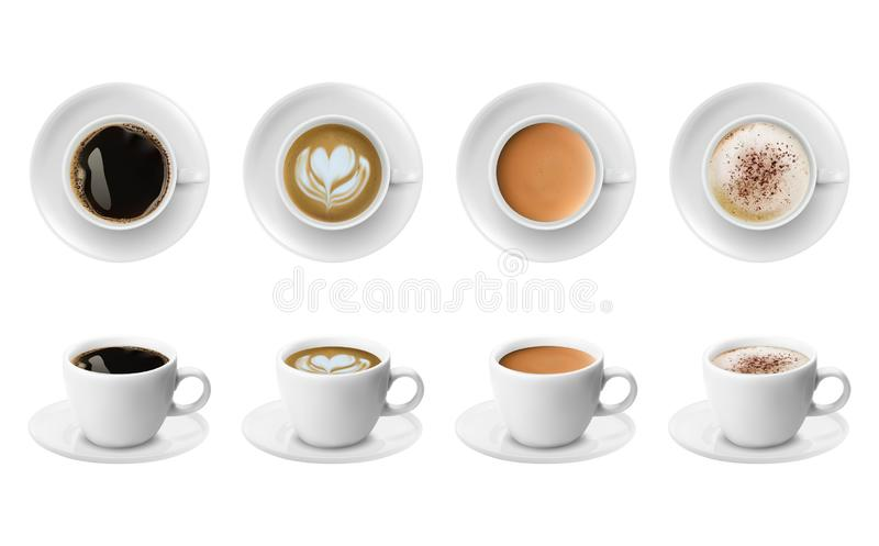 Different sorts of coffee in white cups view from the top and side. Cappuccino latte americano espresso cocoa in realistic cups. stock illustration
