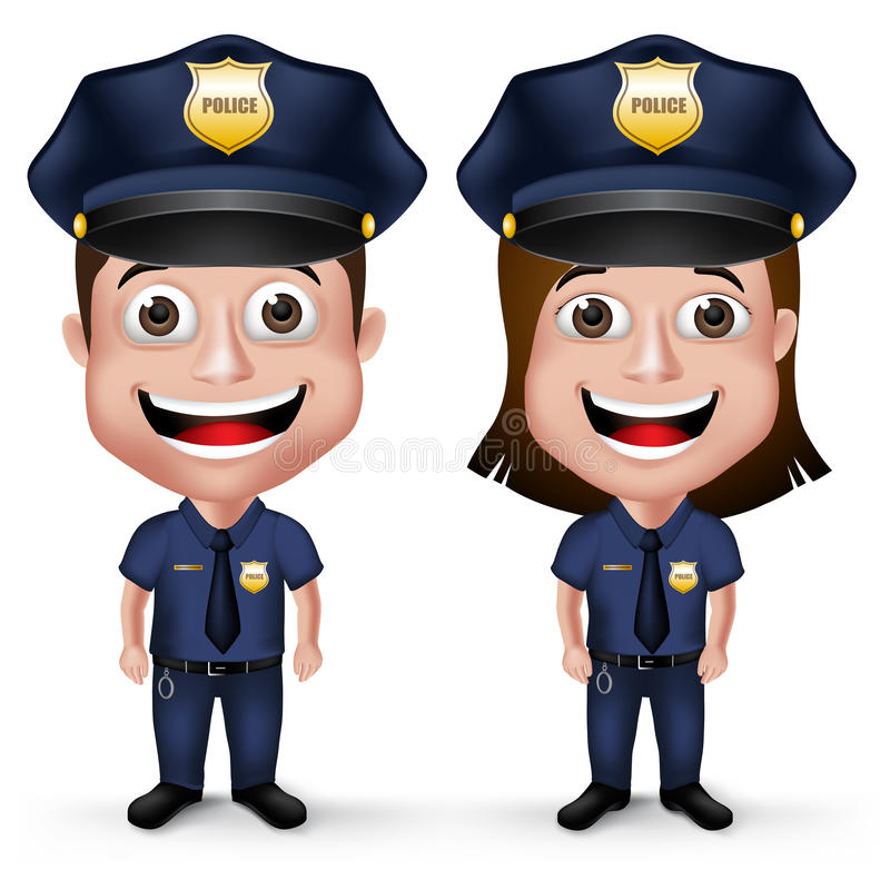 3D Realistic Friendly Police Characters Policeman and Policewoman. In Uniform for Security in White Background. Vector Illustration vector illustration