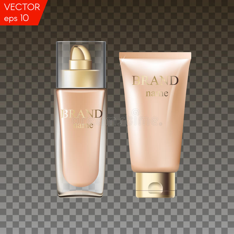 3D realistic glass bottle and plastic tube for foundation or bb and cc cream. Blank template of packaging for cosmetic vector illustration