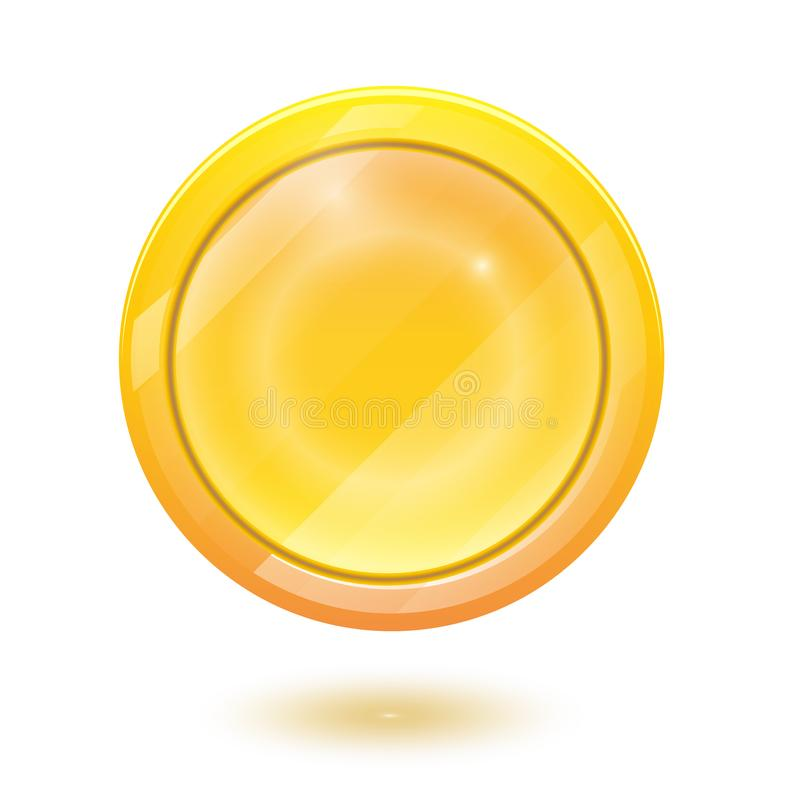3d realistic gold coin icon. Vector illustration isolated on white background royalty free illustration