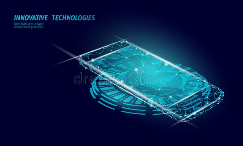 3D realistic inductive charging pad. Smartphone wireless cordless change power station. Modern innovative technology vector illustration