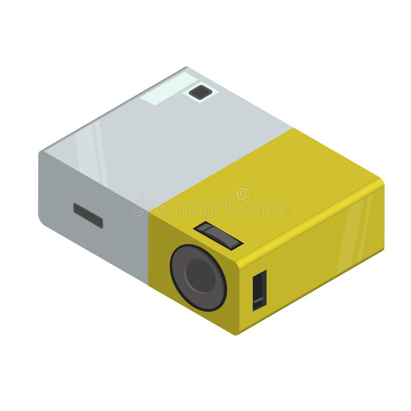 Multimedia video projector. 3d realistic multimedia video projector in black color. Modern isometric flat style vector illustration icons royalty free illustration