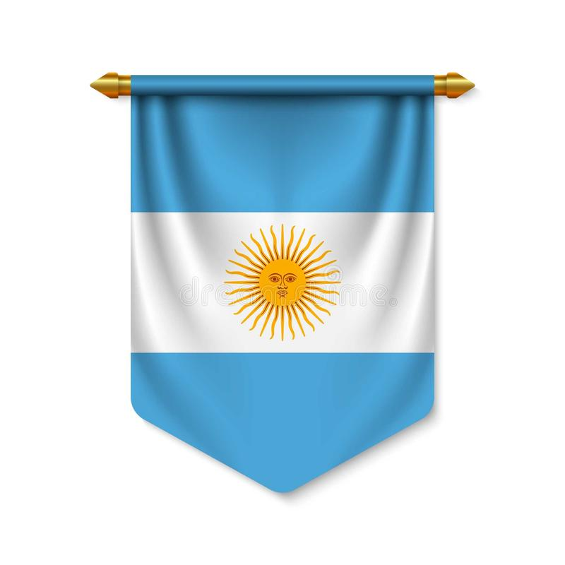 3d realistic pennant with flag vector illustration