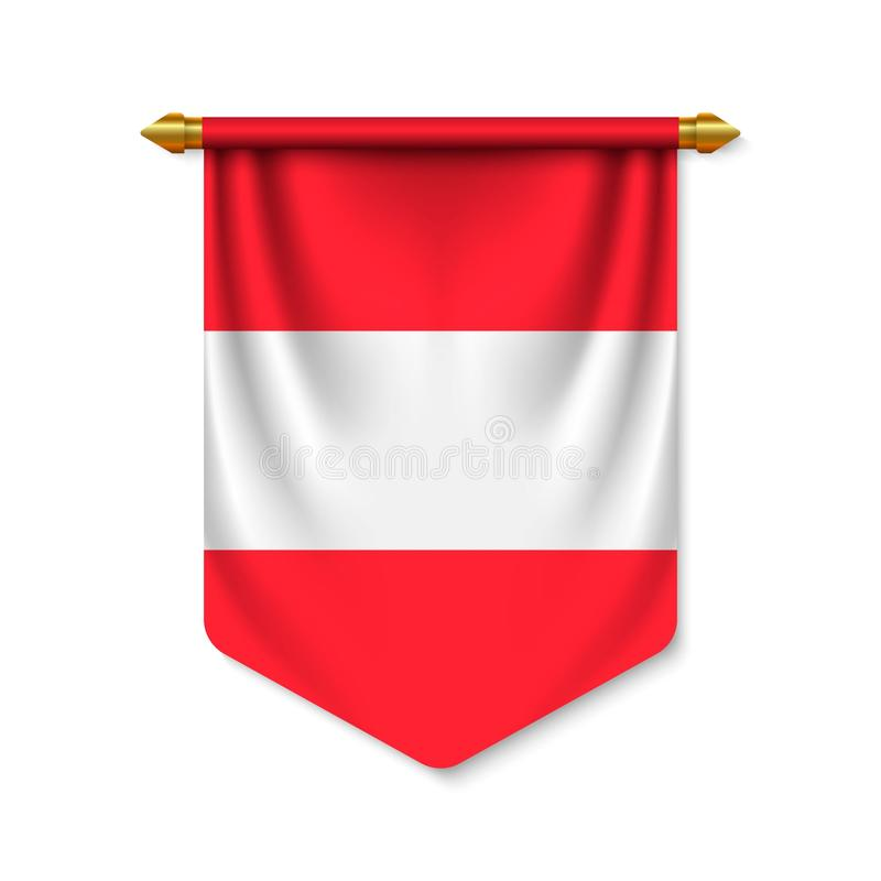 3d realistic pennant with flag royalty free illustration