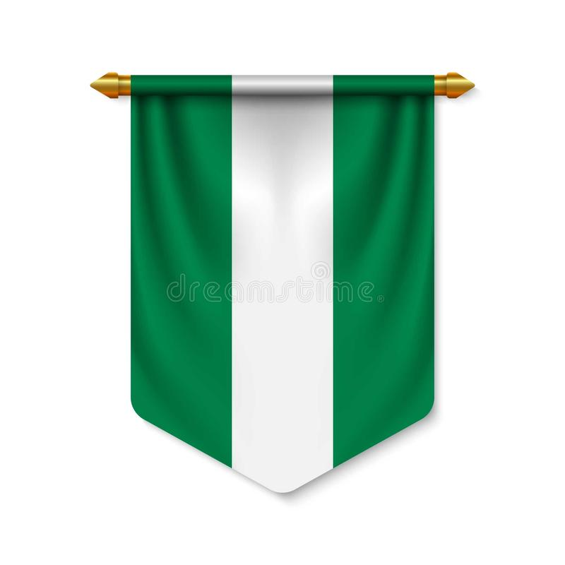 3d realistic pennant with flag stock illustration