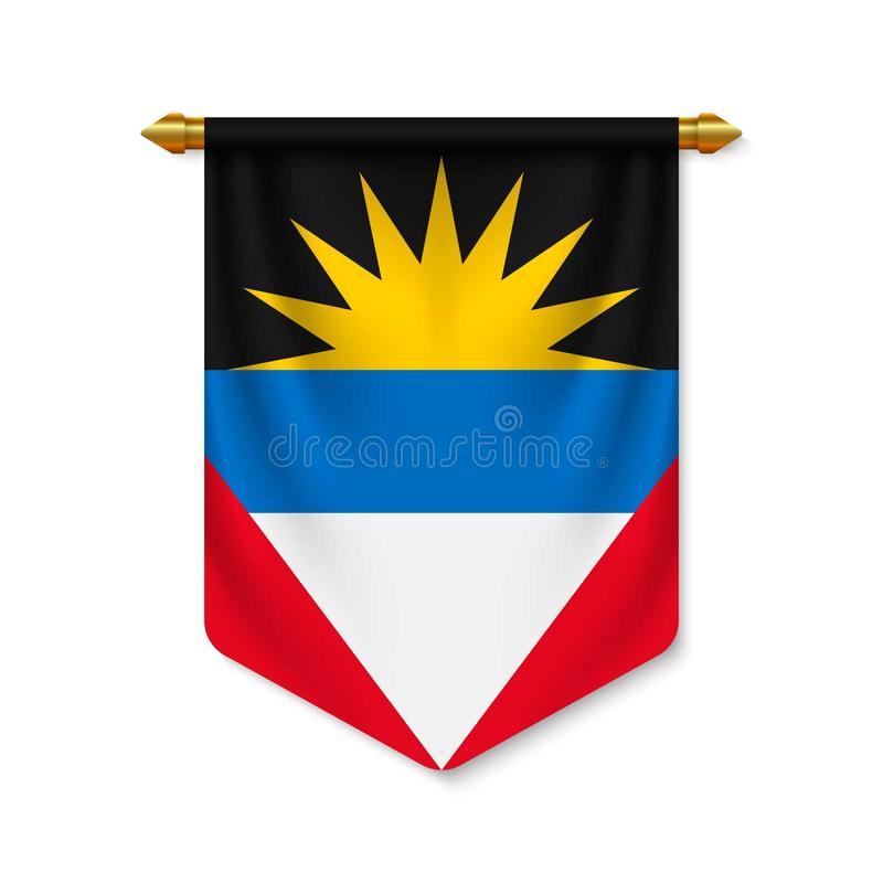 3d realistic pennant with flagn stock illustration