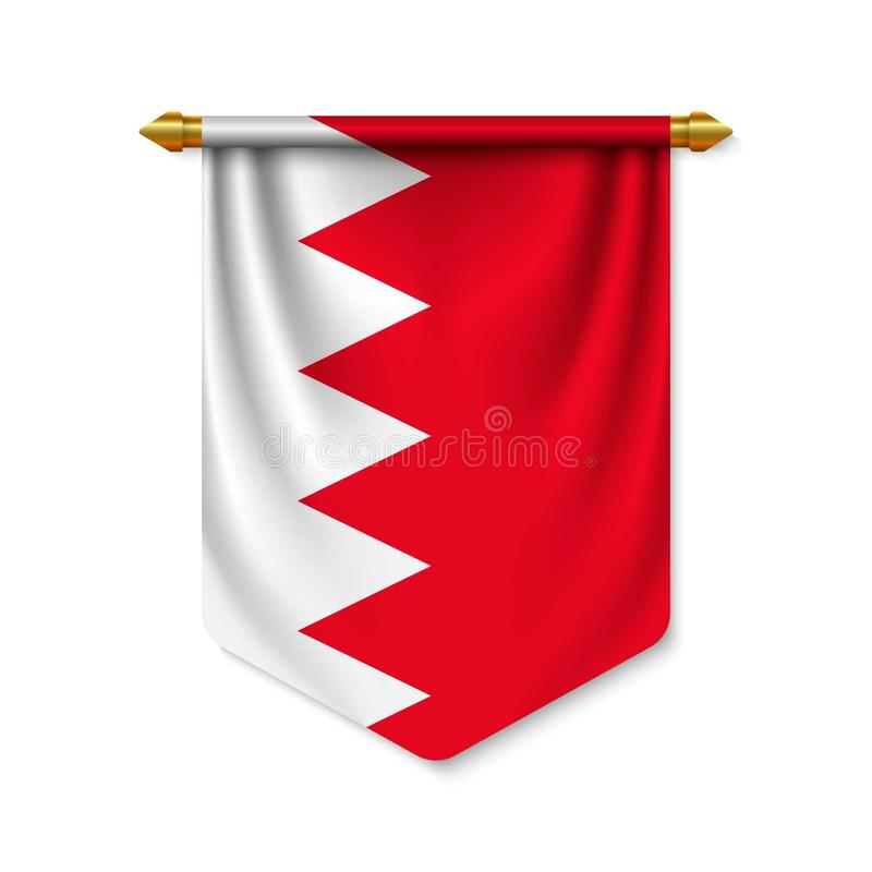 3d realistic pennant with flagn vector illustration
