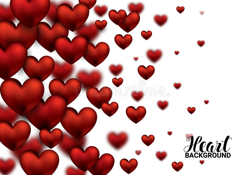 3D Realistic Red Hearts Background with Sweet Happy Valentines Day. Vector Illustration. 3D Realistic Red Hearts Background with Sweet Happy Valentines Day royalty free illustration