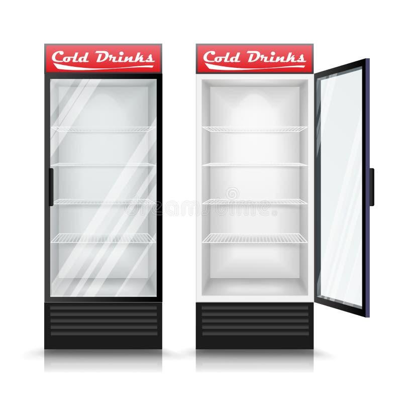 3d Realistic Refrigerator Vector Glass Door Fridge Illustration