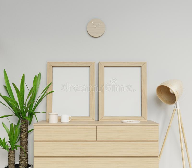 3d realistic render of cozy modern home interior with two a3 size blank poster mock up design with horizontal wooden frame sitting royalty free illustration