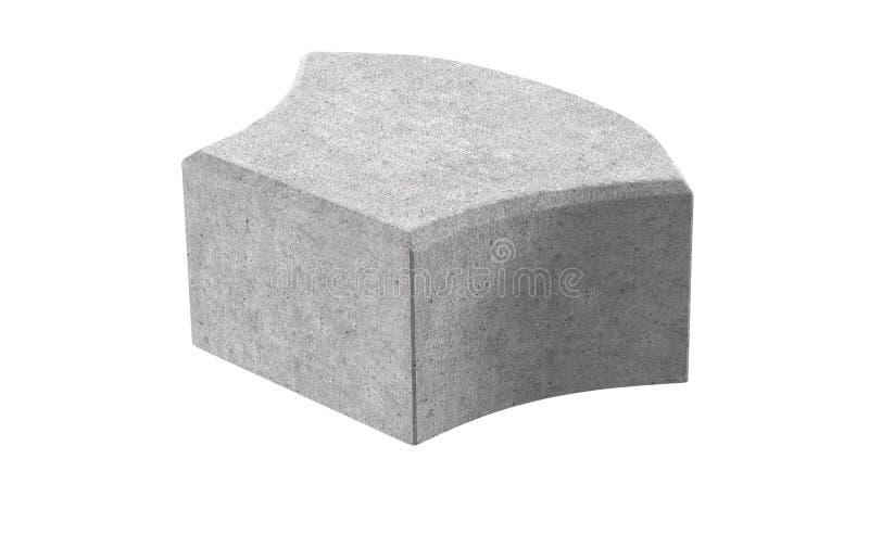 Grey single lock paving brick. Isolated on white background. 3D realistic render of grey single lock paving brick. Isolated on white background royalty free illustration