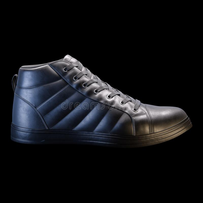 3D Realistic Render of a shoe in dark color, with a black background.  royalty free stock photos