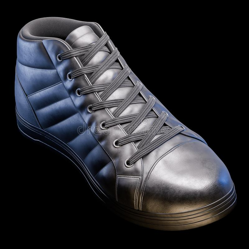 3D Realistic Render of a shoe in dark color, with a black background.  royalty free stock images