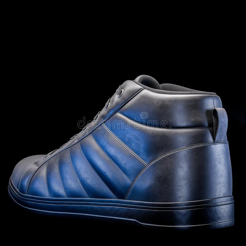 3D Realistic Render of a shoe in dark color, with a black background.  stock images