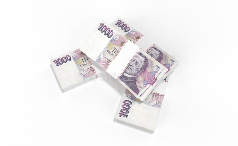 3D realistic render of czech crown ceska koruna national money in czech republic. 3D realistic render of 1000 stack czech crown ceska koruna national money in royalty free stock photo