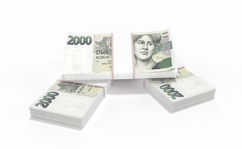 3D realistic render of czech crown ceska koruna national money in czech republic. 3D realistic render of 2000 stack czech crown ceska koruna national money in stock photos