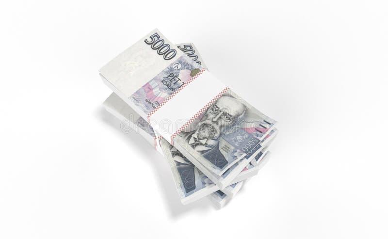 3D realistic render of czech crown ceska koruna national money in czech republic. 3D realistic render of 5000 stack czech crown ceska koruna national money in stock image