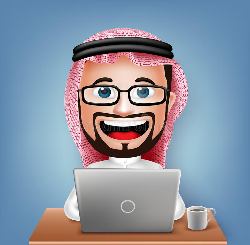 3D Realistic Saudi Arab Businessman Cartoon Character Sitting Working. In Laptop with Coffee in Table Vector Illustration.n vector illustration