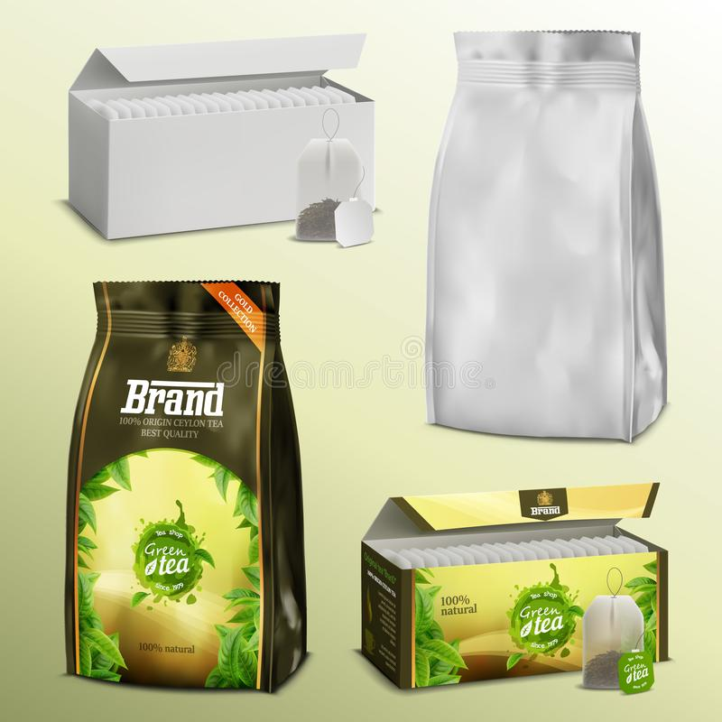 3D realistic set blank white paper tea bags and loose leaves packs boxes and examples with ready design vector illustration