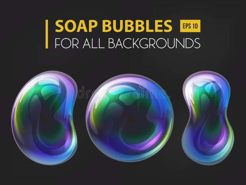 3d realistic soap or water bubbles stock illustration