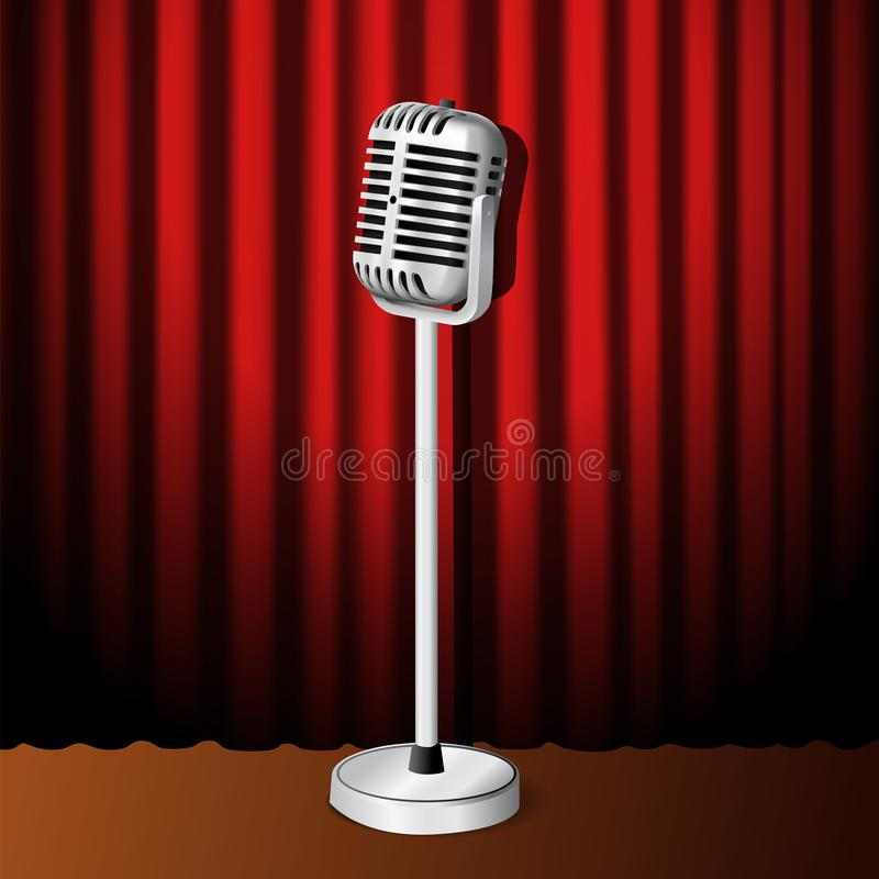 3D realistic standing vintage microphone illustration with red curtain on the stage. For sing show or stand up comedy poster banner template stock illustration