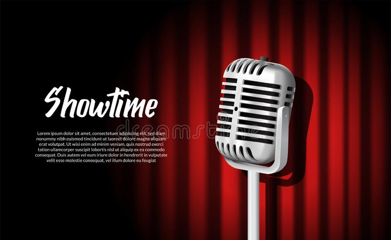 3D realistic standing vintage microphone illustration with red curtain with vignette light show stage. Poster banner illustration vector illustration