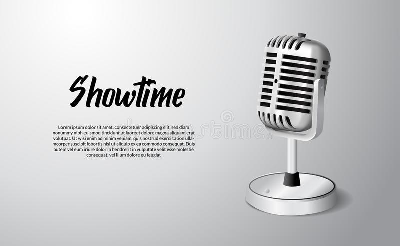 3D realistic standing vintage microphone illustration with white background showtime. Poster banner template vector illustration